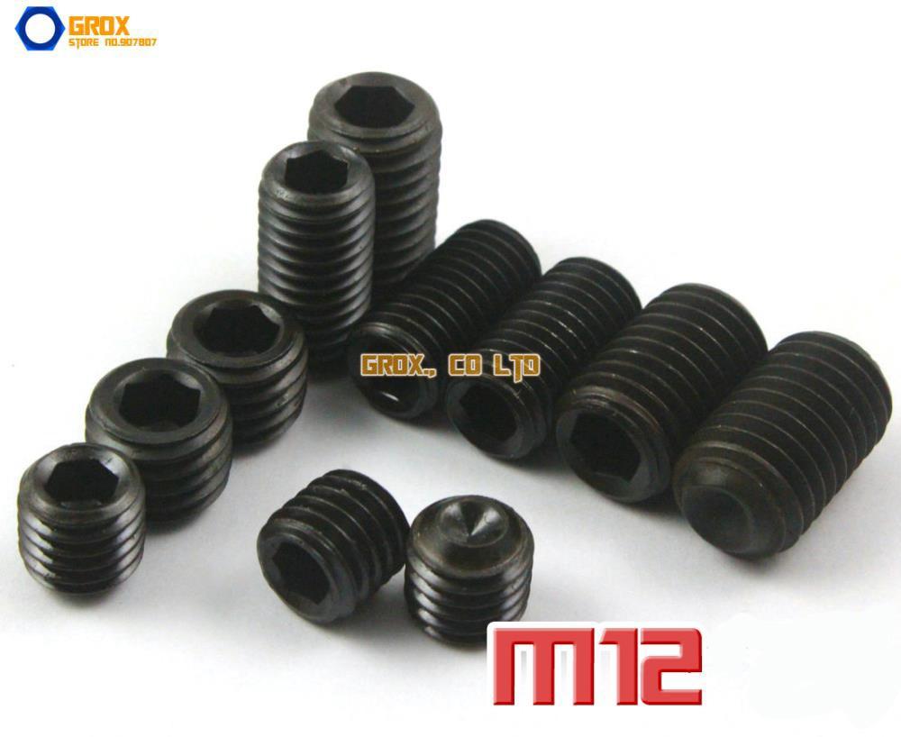 M12  Grub Screws Cup Point Hex Socket Set Screw 12.9 Grade Alloy Steel m2 5 grub screws hex socket set screws with cup point alloy steel grade 12 9 black pack 1000
