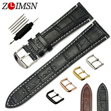 ZLIMSN 100% Genuine Leather Watchband 18 20 22 24mm Watch Straps Bamboo Pattern White stitch Black Brown Bracelet Replacement