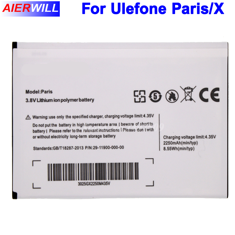 For Ulefone Paris Battery 2250mAh Backup Battery for Ulefone Paris X Batterie Bateria Batterij
