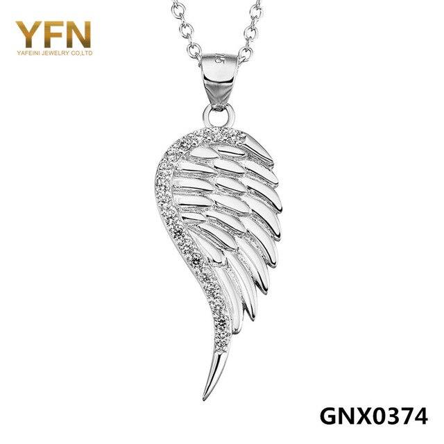 100% Реального Чистая Стерлингового Серебра 925 Silver Angel Wing Ожерелье AAA Кубический Цирконий Кулон Ожерелье Ювелирные Изделия Для Женщин GNX0374