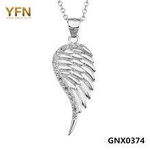 100% real pure 925 sterling silver angel wing collar aaa cubic zirconia colgante collar de la joyería de la manera para las mujeres gnx0374