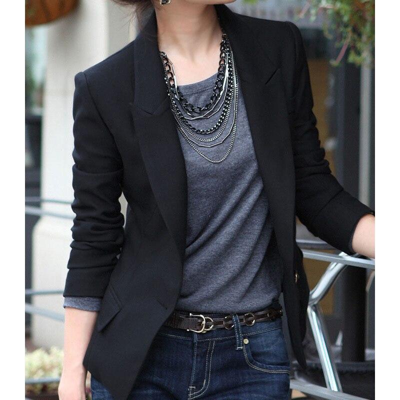comprar elegante mujer ropa chaquetas para mujer de manga larga delgado un botn negro corto blazer mujeres trajes outwear blazers