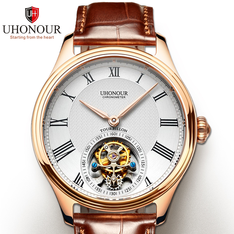 Men Mechanical Watch Tourbillon Watch Hand Winding  Sapphire 25Jewels Genuine Leather Luxury Gift Sea-gull Movement