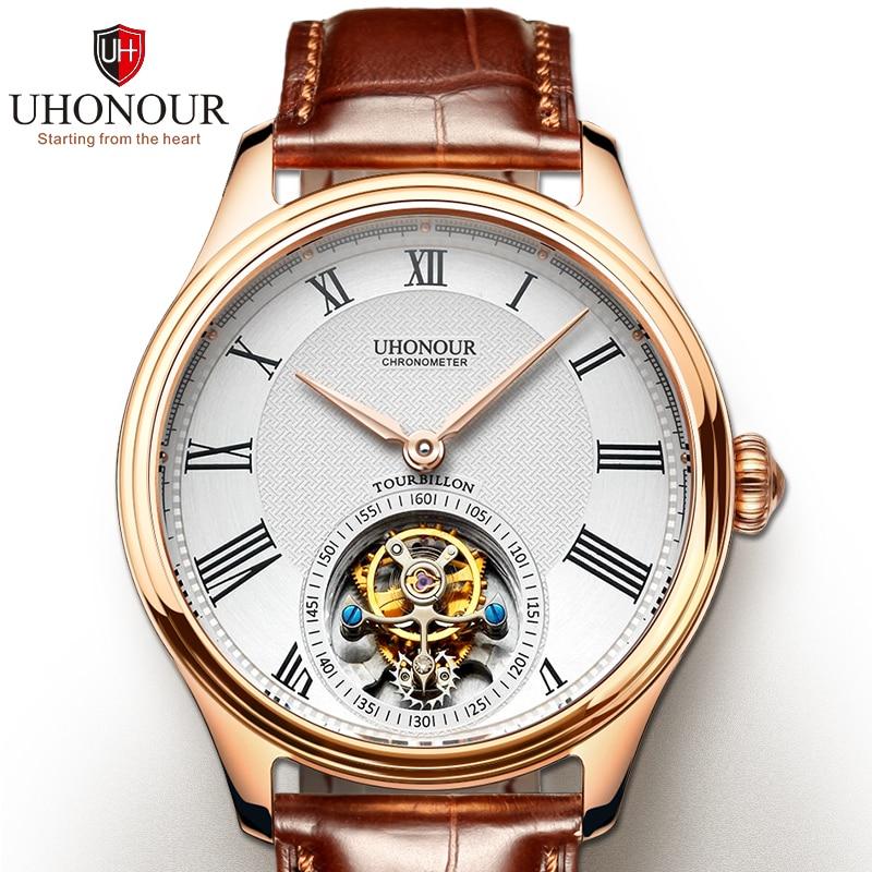 Men Mechanical Watch Tourbillon Watch Hand Winding  Sapphire 25Jewels Genuine Leather Luxury Gift Sea-gull Movement