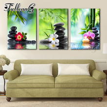 FULLCANG diy 5d diamond embroidery black stone green bamboo orchid triptych painting 3pcs/set full square/round drill FC839