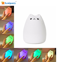 Cute Cat LED Children Night Light Multicolor Silicone Soft Baby Nursery Lamp Sensitive Tap Control For