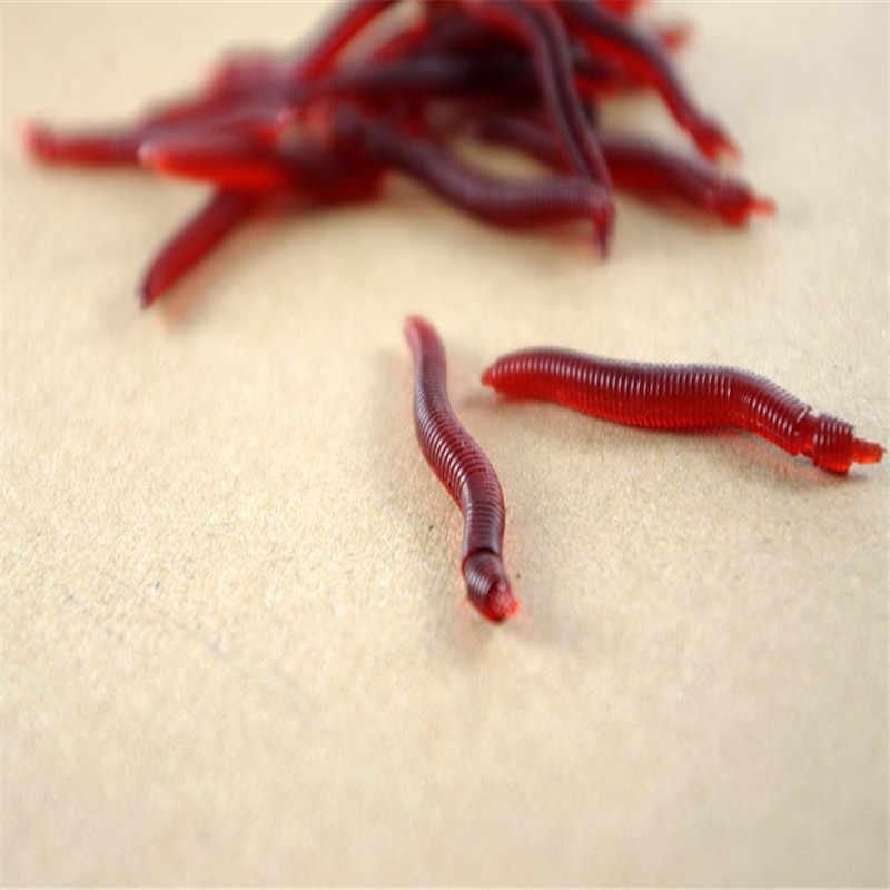 30 stks/partij Vissen Lokken Simulatie Earthworm Red Worms Isca Kunstmatige Gratis Bezorging Soft Aas Levensechte Vislucht Accessoires