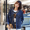 [XITAO] 2016 Outono Personalidade Retro Forma Solta Vento Do Sul Coreano Cor Sólida Batwing Mangas Compridas Jaqueta Jeans Feminino EVA-001
