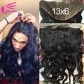 13 x 6 кружева фронтальной сырье индийский волна 7а необработанные индийский реми волосы фасады с ребенка волосы отбеленными узлы 130% плотность