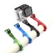Для спортивной камеры Gopro 2/3/3+/4 Алюминий фиксатор для крепления на руль мотоцикла велосипеда держатель кронштейна для руля велосипеда байка мотоцикла крепление на раму мотоцикла трубки зажим черный/синий/красный