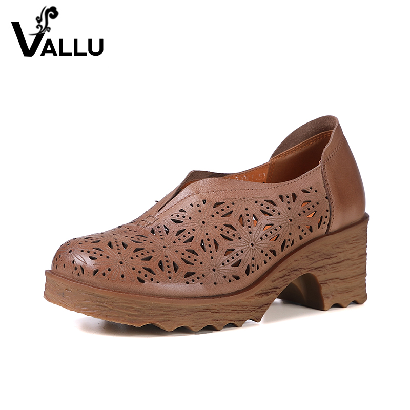 2018 Women' s High Heel Shoes Calf Leather Lady Pumps Fretwork Slip On Block Heel Round Toe Female New Design Shoes