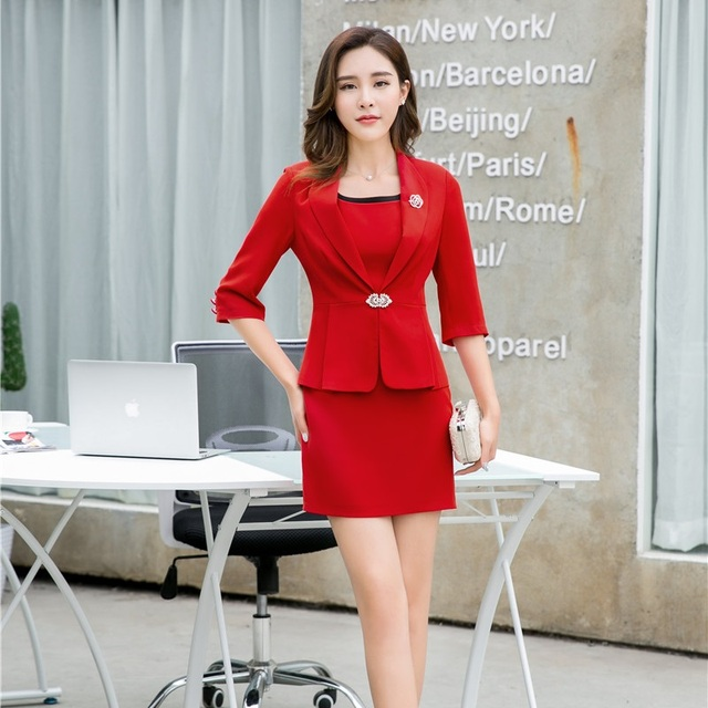 Red Blazer Women Business Suits Formal Office Work Las Dress And Jacket Sets Uniform