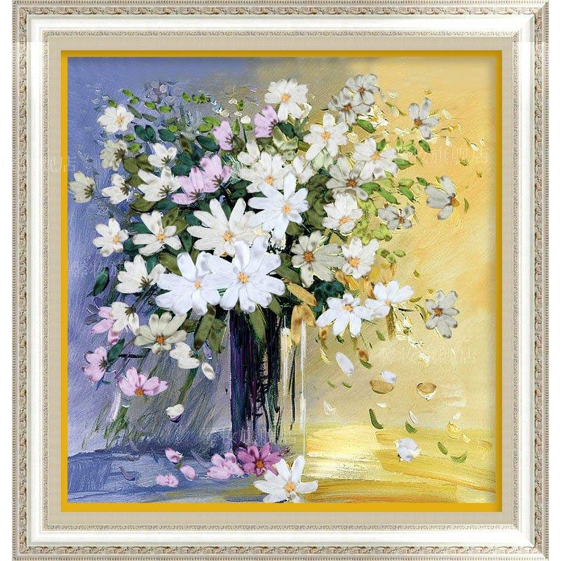 50X48cm White daisies DIY Ribbon Embroidery Fashion 3d Print Cross Stitch Kit Needlework Unfinished Home Decoration Craft Gift