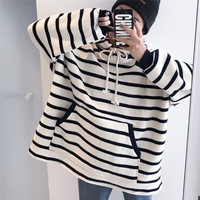 SuperAen Loose Pluz Size Hooded Thick Girls Sweatshirt Casual Wild Fashion Cotton Hoody Korean Style Striped Sweatshirt Tops