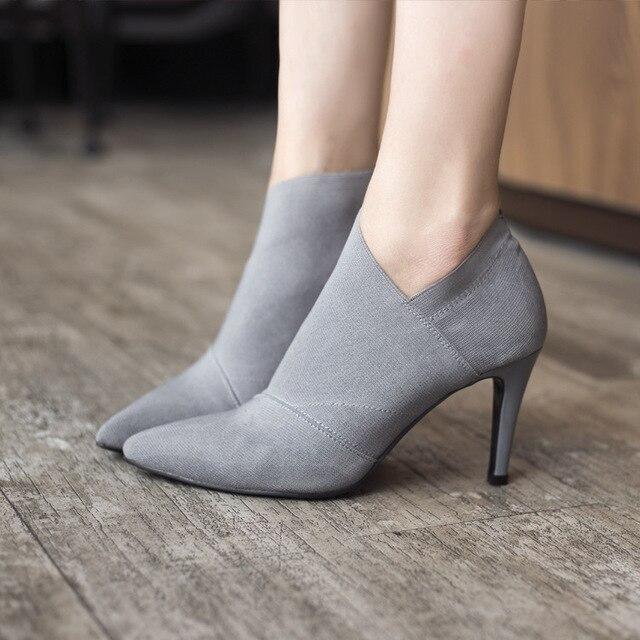 Kadın Ayak Bileği Çizmeler Inek Süet Deri Bahar Sonbahar Kalın Topuk 8.5 cm Yüksek Topuklu Siyah Şarap kırmızı Sivri Burun Ayakkabı HYKL-A196