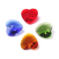 Glass Heart Spacer Beads Crafts Material Jewelry 10 14mm Charm Crystal Heart Clear Beads Natural Stones