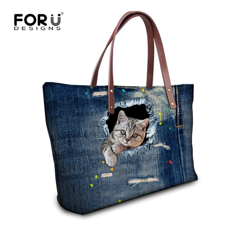 Fashion Women Causal Bags Animal Cute Cat Denim Print Ladies Handbag Large Shoulder Bags Elegant Ladies Tote Satchel Mujer Bolsa