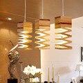 Скандинавские светодиодные линии формы Винтаж Лофт дуб дерево подвесной светильник Ретро лампа 9 Вт E27 110/220 в 120 см шнур подвесной светильник