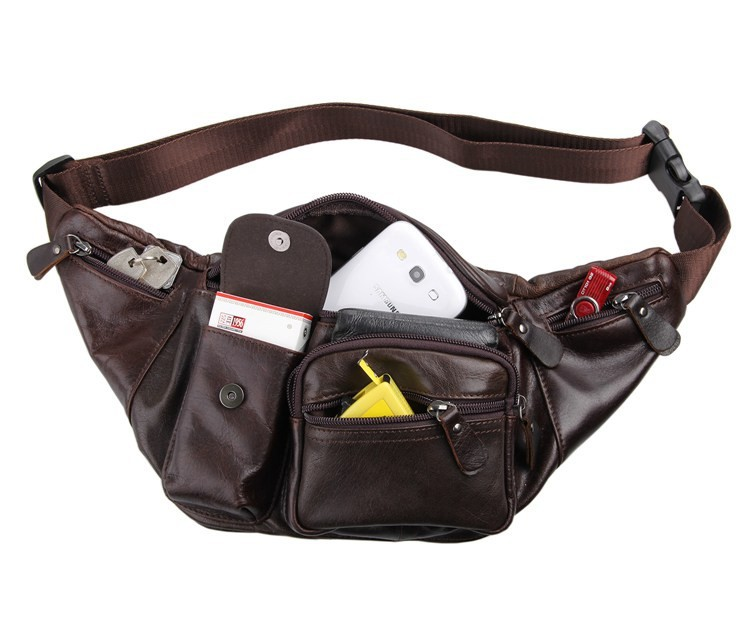 Vintage genuine leather waist packs fanny pack Fashion men small travel bag Pocket sports waist wallet  for men Free shipping (9)