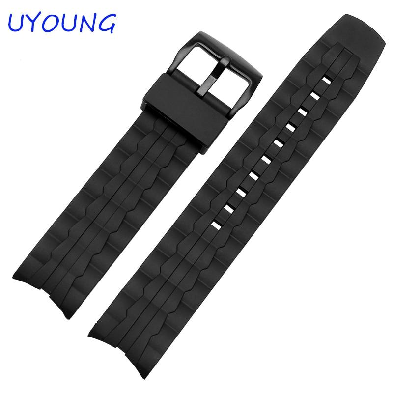 22 mm vroča prodajna silikonska gumijasta pasna črna dodatna oprema za uro za Casio EF-550