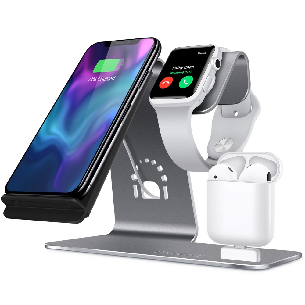 3 en 1 Station de charge groupe Vertical pour Apple iWatch Airpods Qi chargeur rapide sans fil Dock pour iPhone Samsung livraison directe