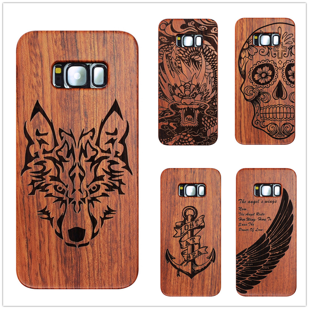 Indian Tribal Wolf Skull Wood Phone Samsung Galaxy S7 S7 Edge Dragon Flower Wooden Samsung Galaxy S8 S8 S9 Plus Cover