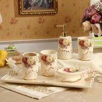 Европейский стиль керамики ванная комната шесть комплектов слоновой кости фарфоровая аппликация зубная щетка чашка ванная комната набор р
