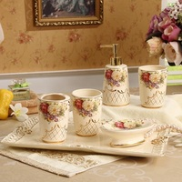 European style ceramic bathroom six sets of ivory porcelain applique toothbrush cup bathroom suite craft gift