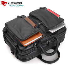 LEXEB Genuine Leather Men Laptop Trolley Travel Bag Multi-Function Travel Duff Hand Luggage Large Capacity Casual Tote Black