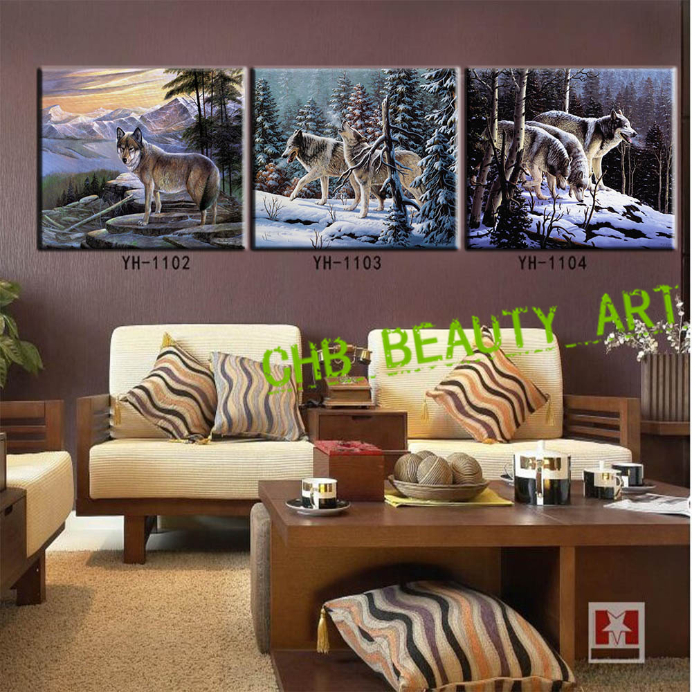 3 Panels Canvas Painting Snow Wolf Wall Art Home Decoration Oil On Decorative Pictures Hd Print Unframed