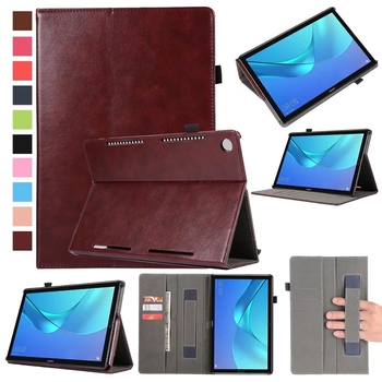 Flip Book PU Leather Case Cover for Huawei Mediapad M5 10.8 inch CMR-AL09 CMR-W09 Tablet Hand Holder Grip Shell Card Slot
