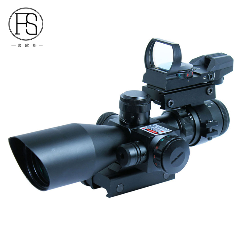 Tactical 2.5-10x40 With Red Laser Riflescope + Red Green Dual illuminated Mil-dot Holographic Sight Scope Combo For 11mm 20mm 3 10x42 red laser m9b tactical rifle scope red green mil dot reticle with side mounted red laser guaranteed 100%