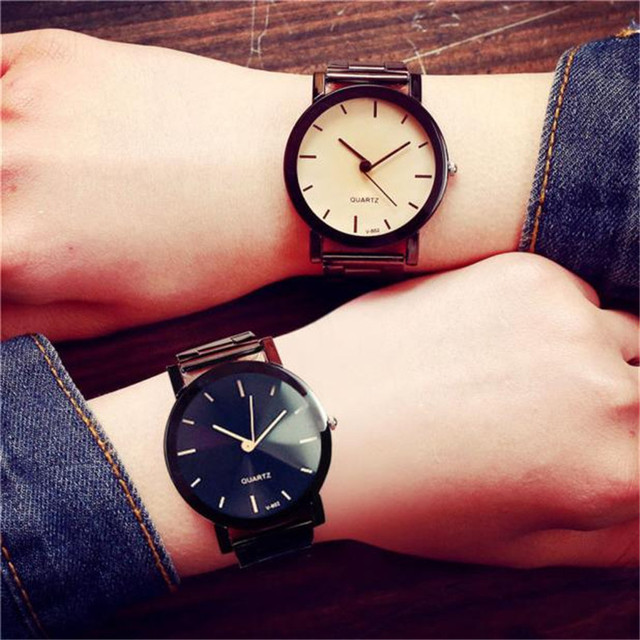 Montre 1PC Lovers Watch Women Fashion Stainless Steel Quartz Wrist Watches Mens