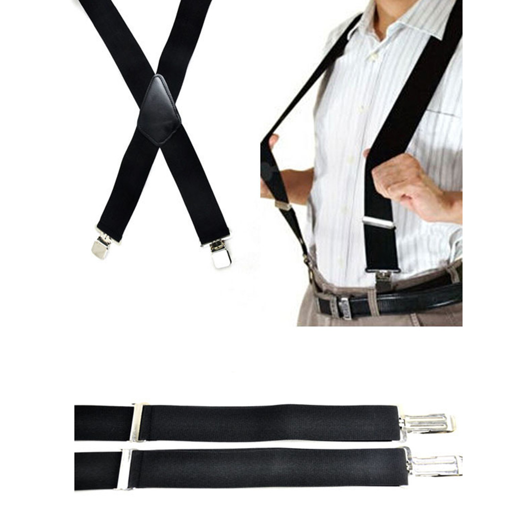 Mens Clip-on Suspenders 50mm Y-Shape Adjustable Durable Braces New Fashion Solid Elastic Belts Straps Braces High Quality Hot