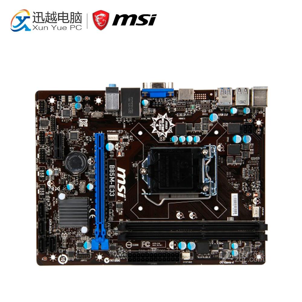 MSI B85M-E33 Desktop Motherboard B85 Socket LGA 1150 i3 i5 i7 DDR3 32G SATA3 USB3.0 Micro-ATX мультиварка redmond rmc 260 black