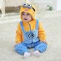 Hot Baby Boy Roupas de Flanela de Algodão Acolchoado Macacão Macacão de Bebê Da Menina da Roupa Do Bebê Do Animal Dos Desenhos Animados Pato Amarelo