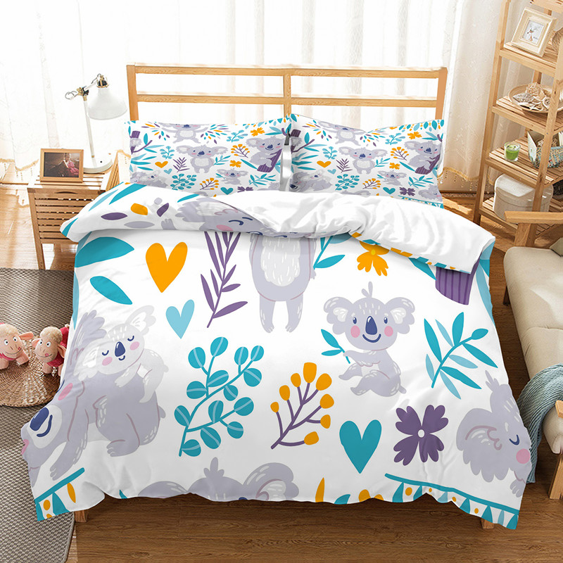 new products 40119 4da68 US $29.88 40% OFF|Fanaijia Cartoon Cute Koala Bedding Set Luxury kids Duvet  Cover with Pillowcase Set Bed Children bed linen-in Bedding Sets from Home  ...