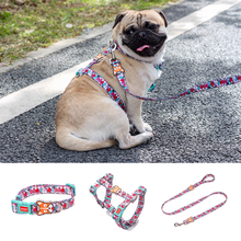 Dog Collars Fashion Designer Print Non-Escape Nylon Harness Breakaway Quick Release Pet Vest Walking Lead Adjustable