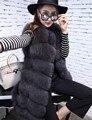 2017 Outono Inverno Luxo Mulheres Fur Colete Longo Casaco Quente Grosso Fluffy Mangas Vest Jacket Outwear das Mulheres Roupas quentes venda