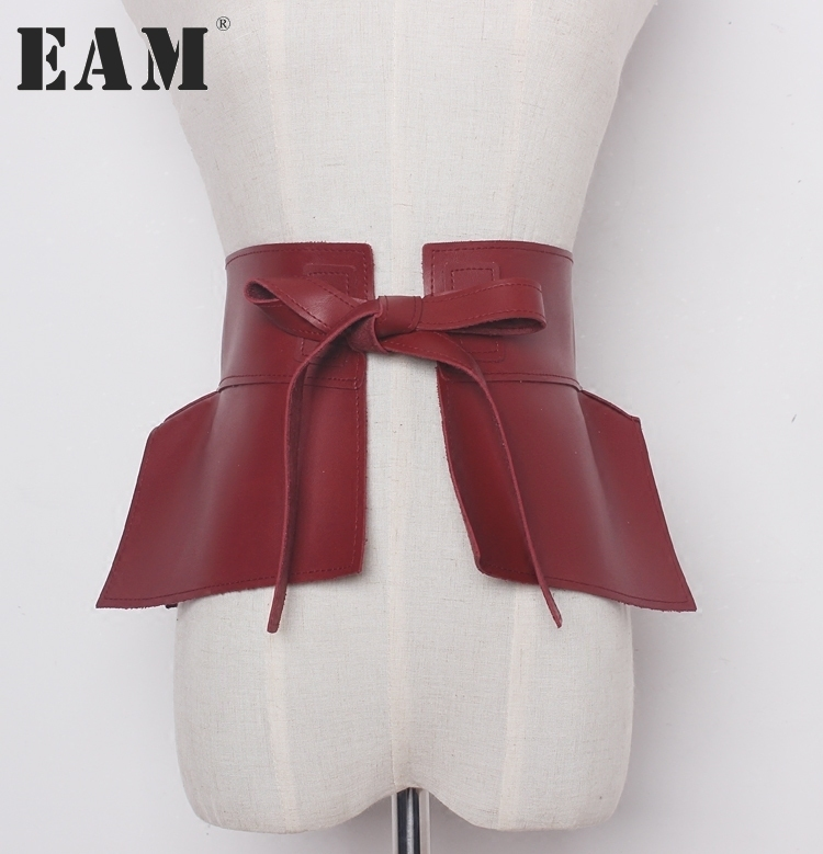 [EAM] 2017 new autumn solid color black red Pu leather bow