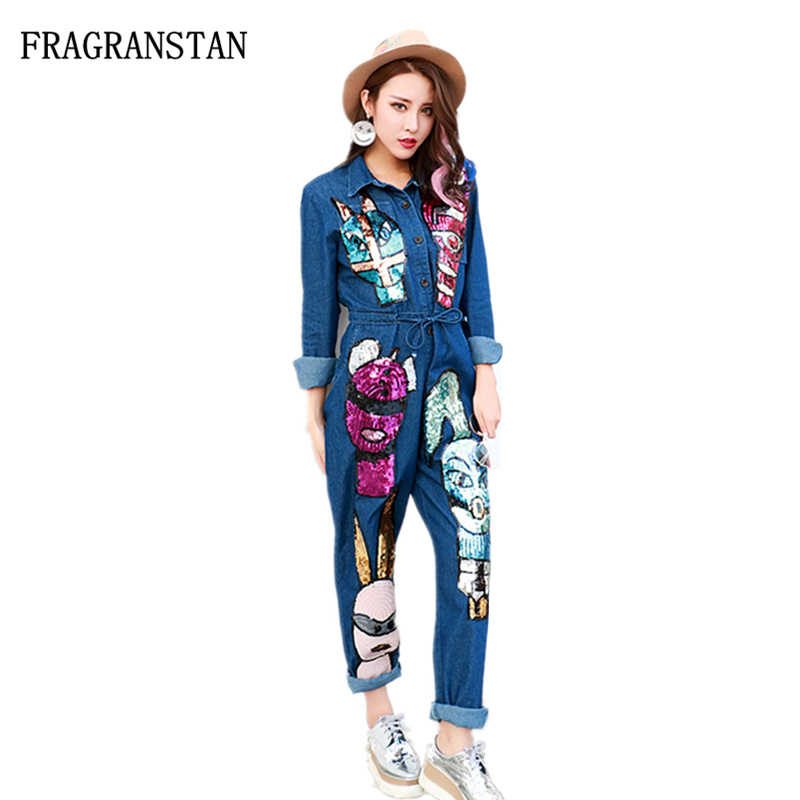 Female Fashion Spring Autumn Cartoon Pattern Sequins Patch Denim Jumpsuits Women New Casual Loose Slim Sashes Long Overalls Q219