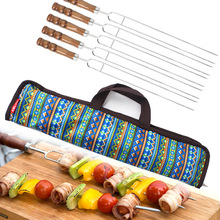 WOFO Barbecue Tools BBQ Stainless Steel Meat Grill Fork Wooden Handle Outdoor Cooking With Storage Bag (Pack of 5)