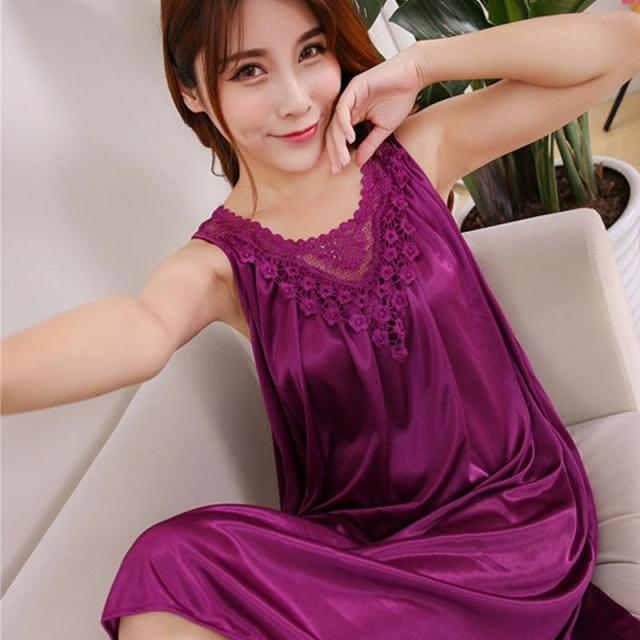 2018 summer sexy nightgown women embroidery satin silk sleepwear sexy lingerie robe short sleeve night dress