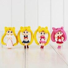 6cm Q version 4pcs lot Sailor Moon Tsukino Usagi Mars Jupiter Venus figure font b toy