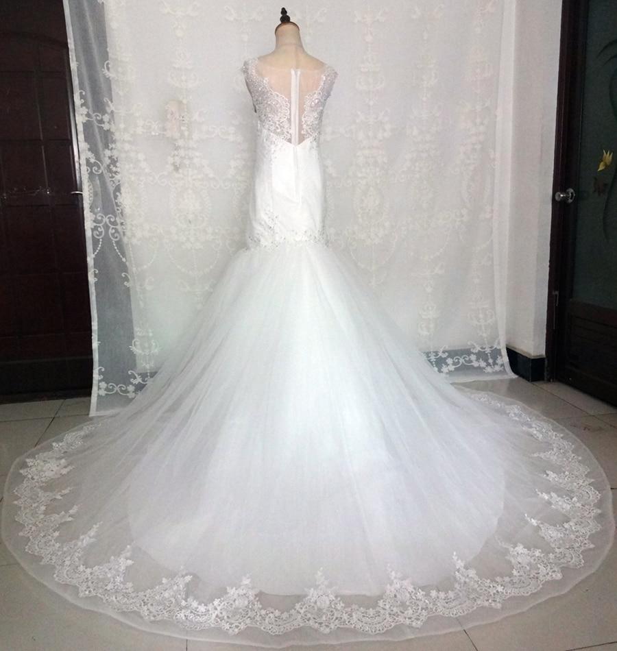 Imagini reale White Ivory Big Tren de nunta rochie Vintage musulman - Rochii de mireasa - Fotografie 2