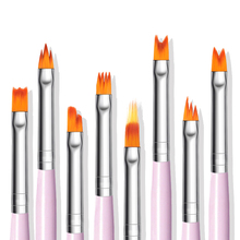 8Pc gradient UV Gel pen drawing painting soft brushes pink handle manicure for Nail Art pen transfer manicure tool Set 7pcs acrylic painting pen uv gel drawing liner brushes set rhinestone handle manicure nail art tool