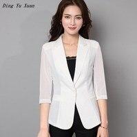 4XL 5XL Plus Size Blazers Women Black White Oversized Blazer Cotton Linen Blend Mesh Three Quarter Sleeve Office Jacket Women
