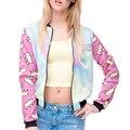 Chaqueta de Bombardero de la Nueva Europa, Mujeres Moda Impreso Soporte de Cuello Delgado De Manga Larga de Colores Outwear Femenino