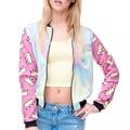 O Novo Mulheres Europeias Moda Bomber Jacket Impresso Gola Fino Colorido de Mangas Compridas Casaco Outwear Feminino
