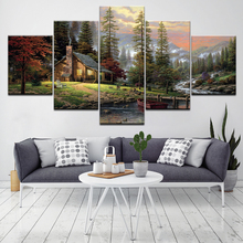 Woods and rivers Landscape 5 Piece Wallpapers Art Canvas Print modern Poster Modular art painting for Living Room Home Decor forest waterfall landscape 5 piece canvas wallpapers modern modular poster art canvas painting for living room home decor